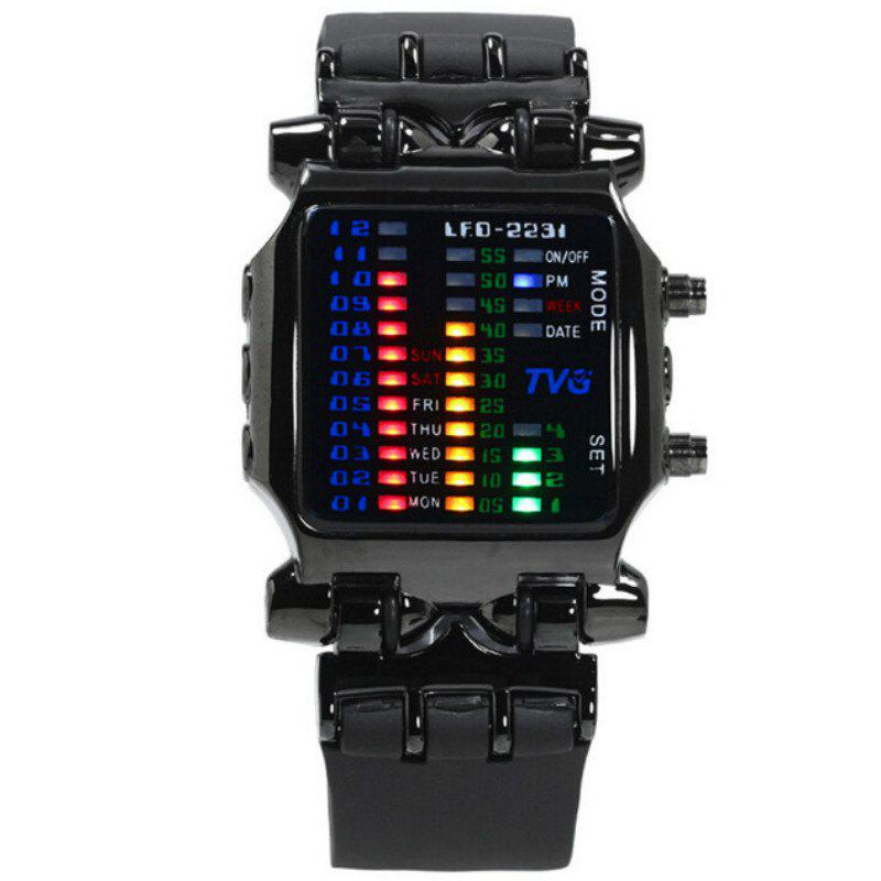 TVG Men Fashion Rubber Strap LED Digital 30M Waterproof Sports Watches - BLACK