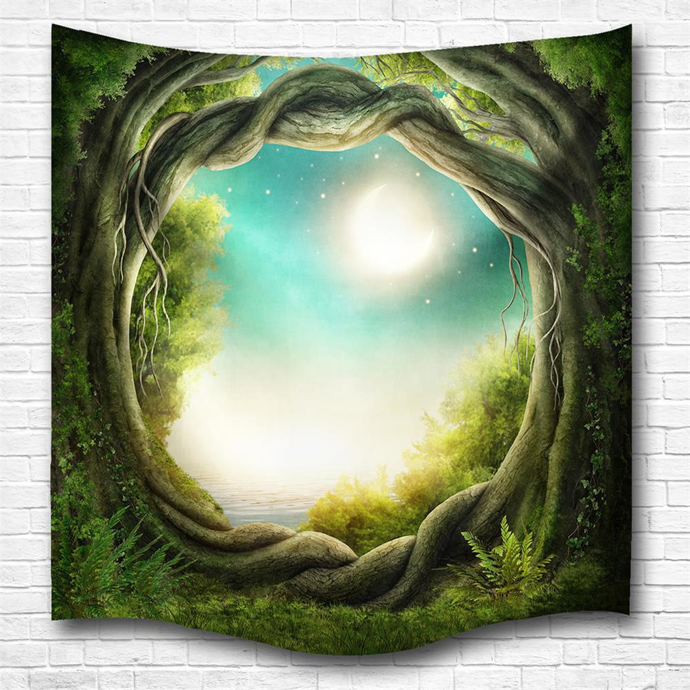 Fantasy Forest 3D Digital Printing Home Wall Hanging Nature Art Fabric Tapestry for Bedroom Living Room Decorations - multicolor W153CMXL130CM