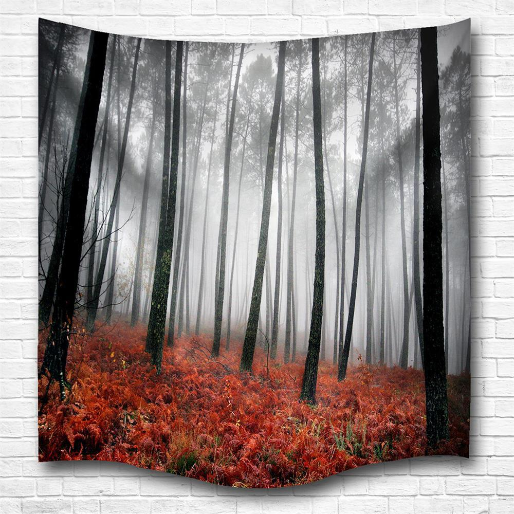 Red Woods 3D Digital Printing Home Wall Hanging Nature Art Fabric Tapestry for Bedroom Living Room Decorations - COLORMIX W229CMXL153CM