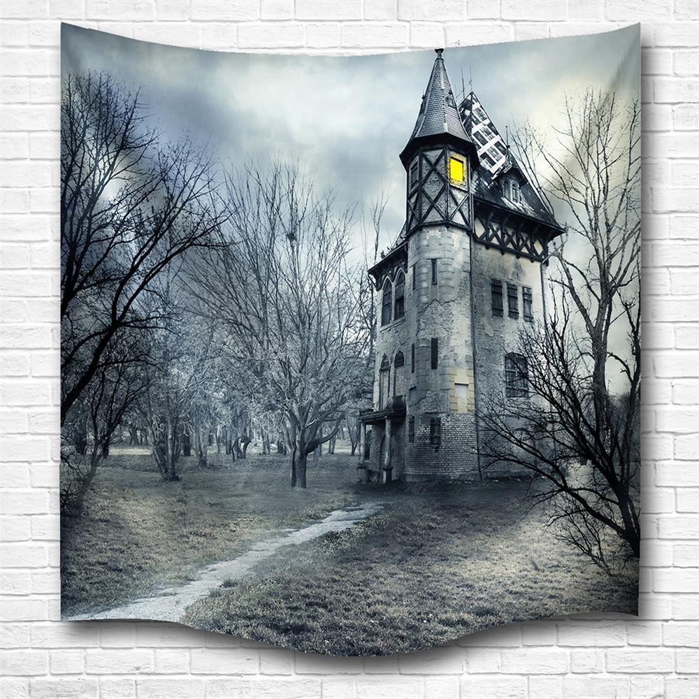 A Mysterious Castle 3D Digital Printing Home Wall Hanging Nature Art Fabric Tapestry for Bedroom Living Room Decorations - COLORMIX W200CMXL180CM