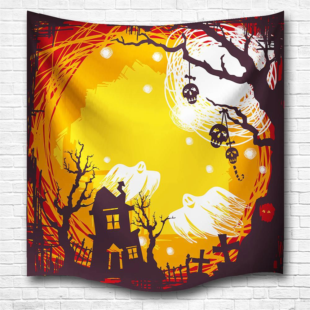 The Skeleton Ghost 3D Digital Printing Home Wall Hanging Nature Art Fabric Tapestry for Bedroom Living Room Decorations - COLORMIX W229CMXL153CM