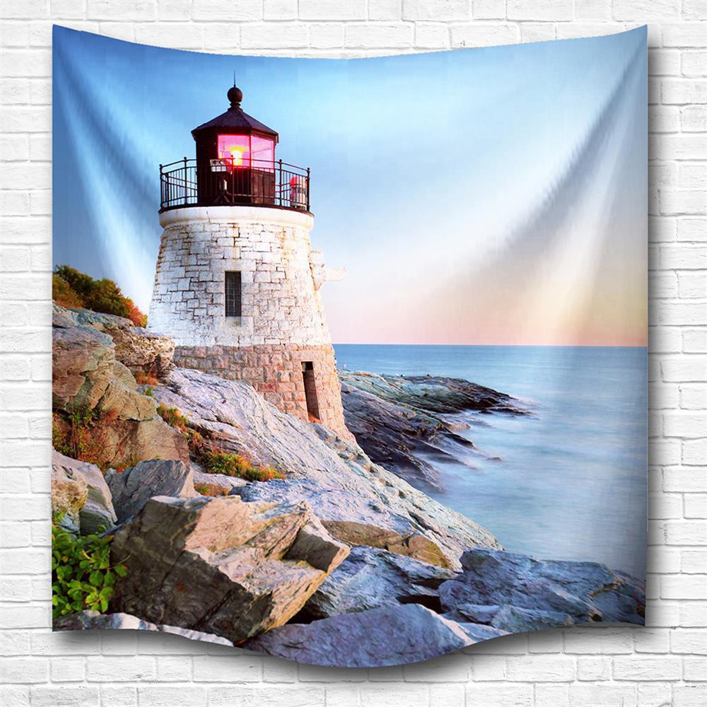 Sunset Tower 3D Digital Printing Home Wall Hanging Nature Art Fabric Tapestry for Bedroom Living Room Decorations - COLORMIX W200CMXL180CM