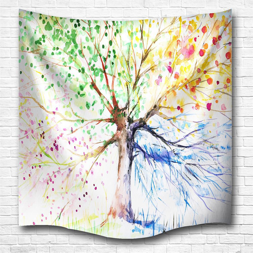 Multicolor Tree 3D Digital Printing Home Wall Hanging Nature Art Fabric Tapestry for Bedroom Living Room Decorations - COLORMIX W230CMXL180CM