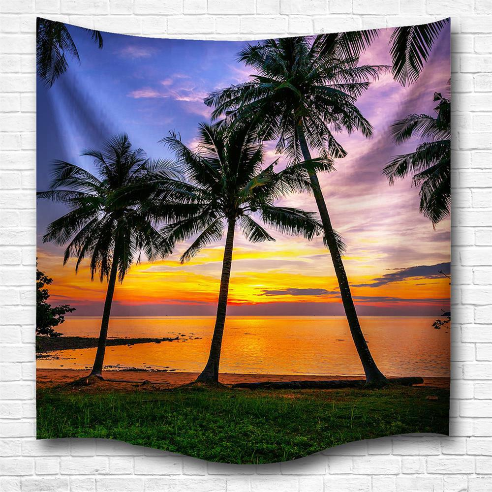 Sunset 3D Digital Printing Home Wall Hanging Nature Art Fabric Tapestry for Bedroom Living Room Decorations - COLORMIX W229CMXL153CM