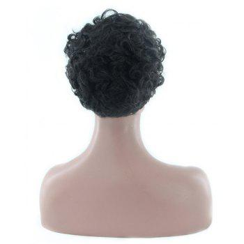 African Rolls with Short Curly Black Hair Synthetic Wigs - BLACK