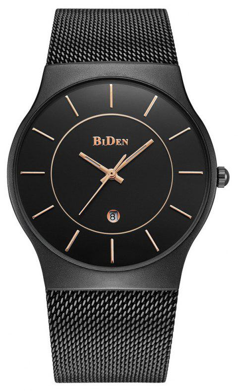 BIDEN Men Quartz Stainless Steel Business Calendar Wristwatch - BLACK