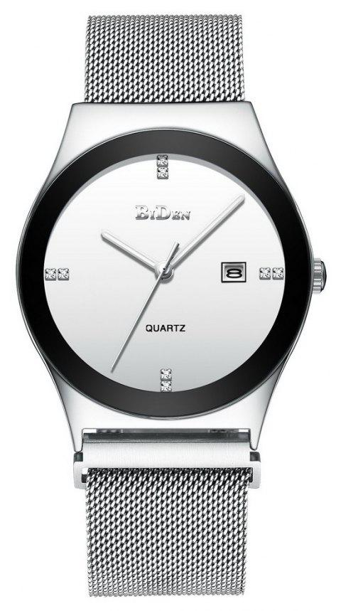 BIDEN Men Quartz Stainless Steel Business Wristwatch - SILVER