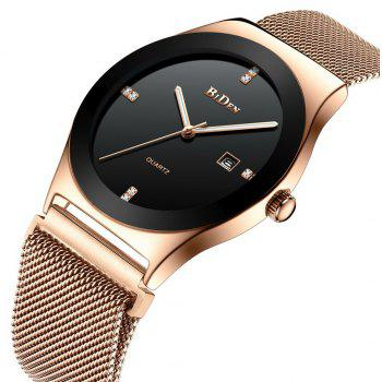 BIDEN Men Quartz Stainless Steel Business Wristwatch - ROSE GOLD BAND BLACK DIAL