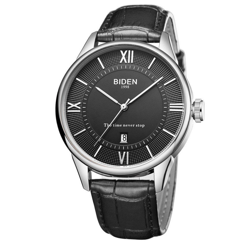 Men Quartz Learher Stap Vintage Roman Numerals Dial Unisex Business Wristwatch - BLACK