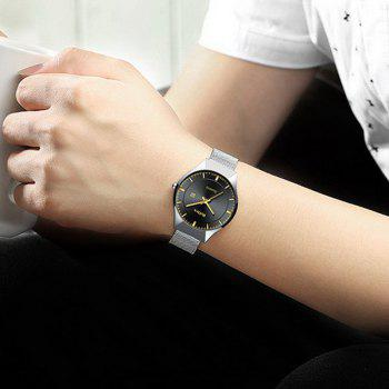 BIDEN Men Quartz Stainless Steel Calendar Simple Fashion Casual Unisex Watch - SILVER GRAY