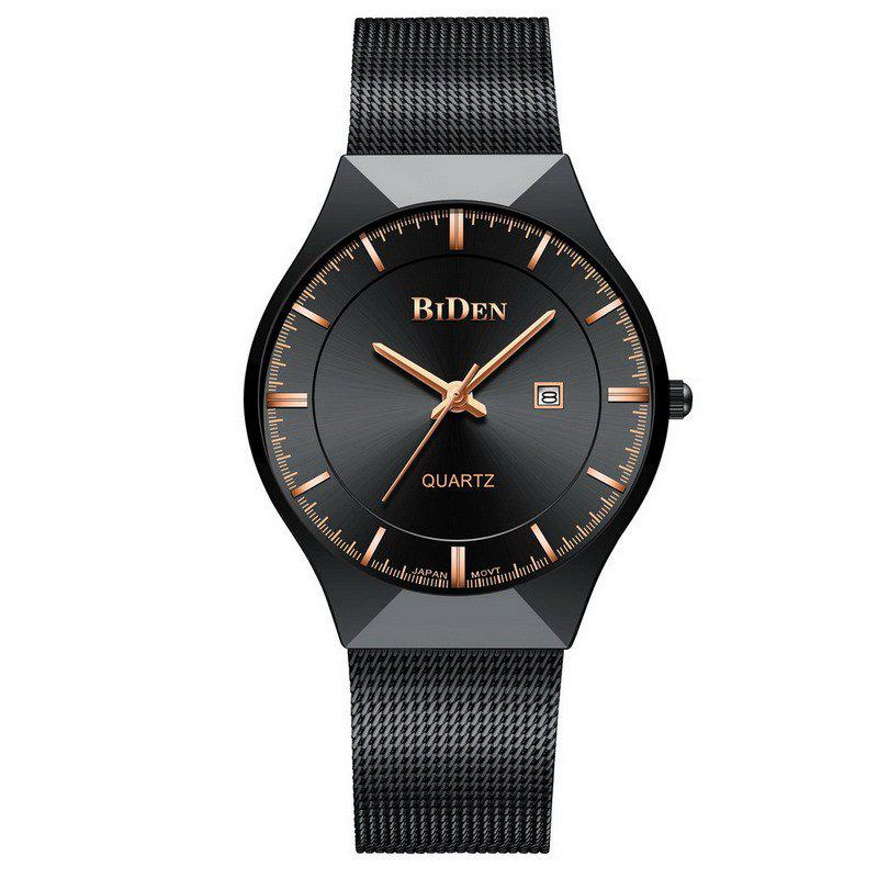 BIDEN Men Quartz Stainless Steel Calendar Simple Fashion Casual Unisex Watch - BLACK