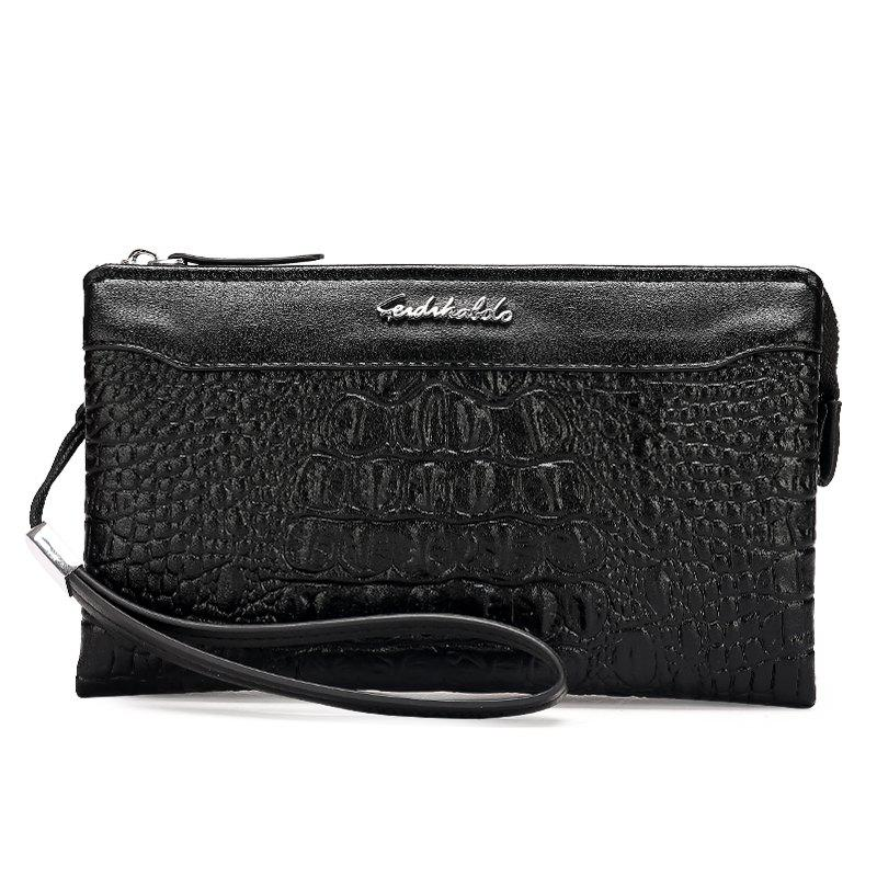 Business Casual Wallet Fashion Long Section of Multi-card Men's Clutch - BLACK