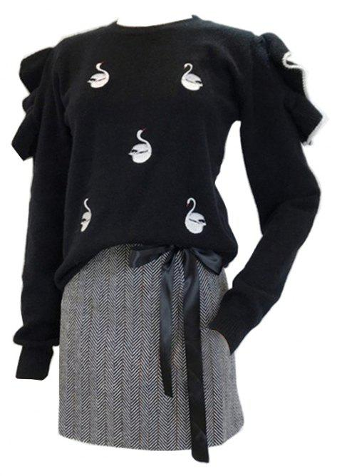 Lovely Black Fungus Lace Embroidery Knit Sweater - BLACK ONE SIZE