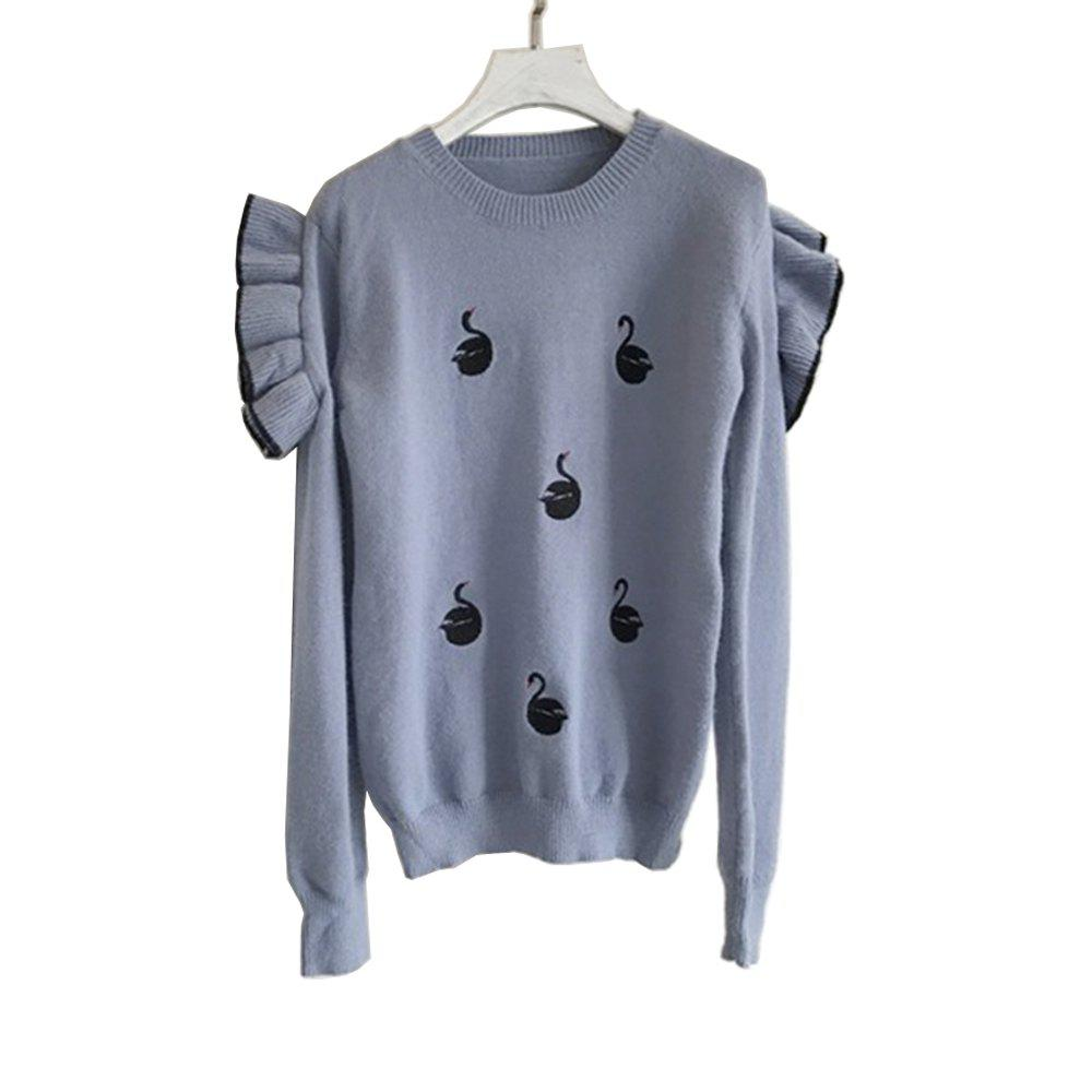 Lovely Black Fungus Lace Embroidery Knit Sweater - BLUE ONE SIZE