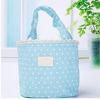 Lunch Bag Likable Sweet Polka Dots Pattern Canvas Portable Bag - BLUE