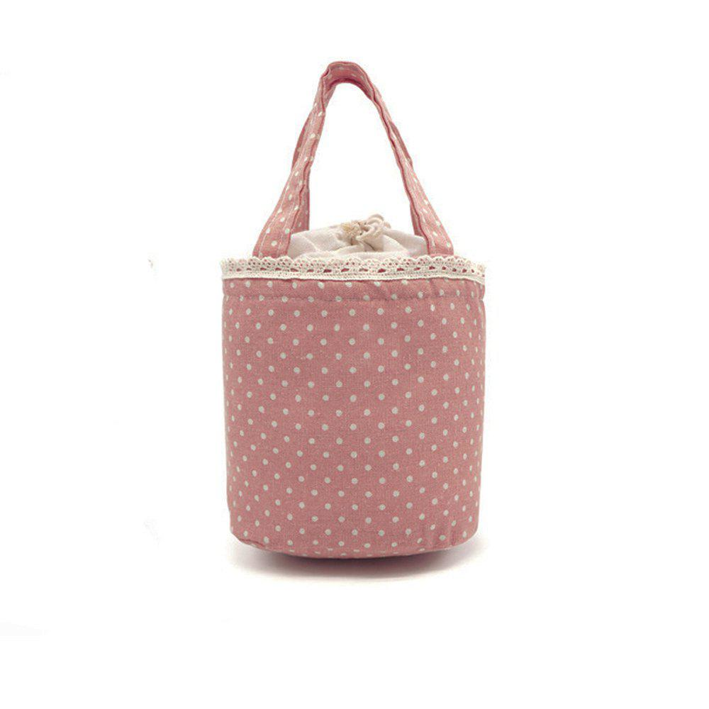 Lunch Bag Likable Sweet Polka Dots Pattern Canvas Portable Bag - PINK