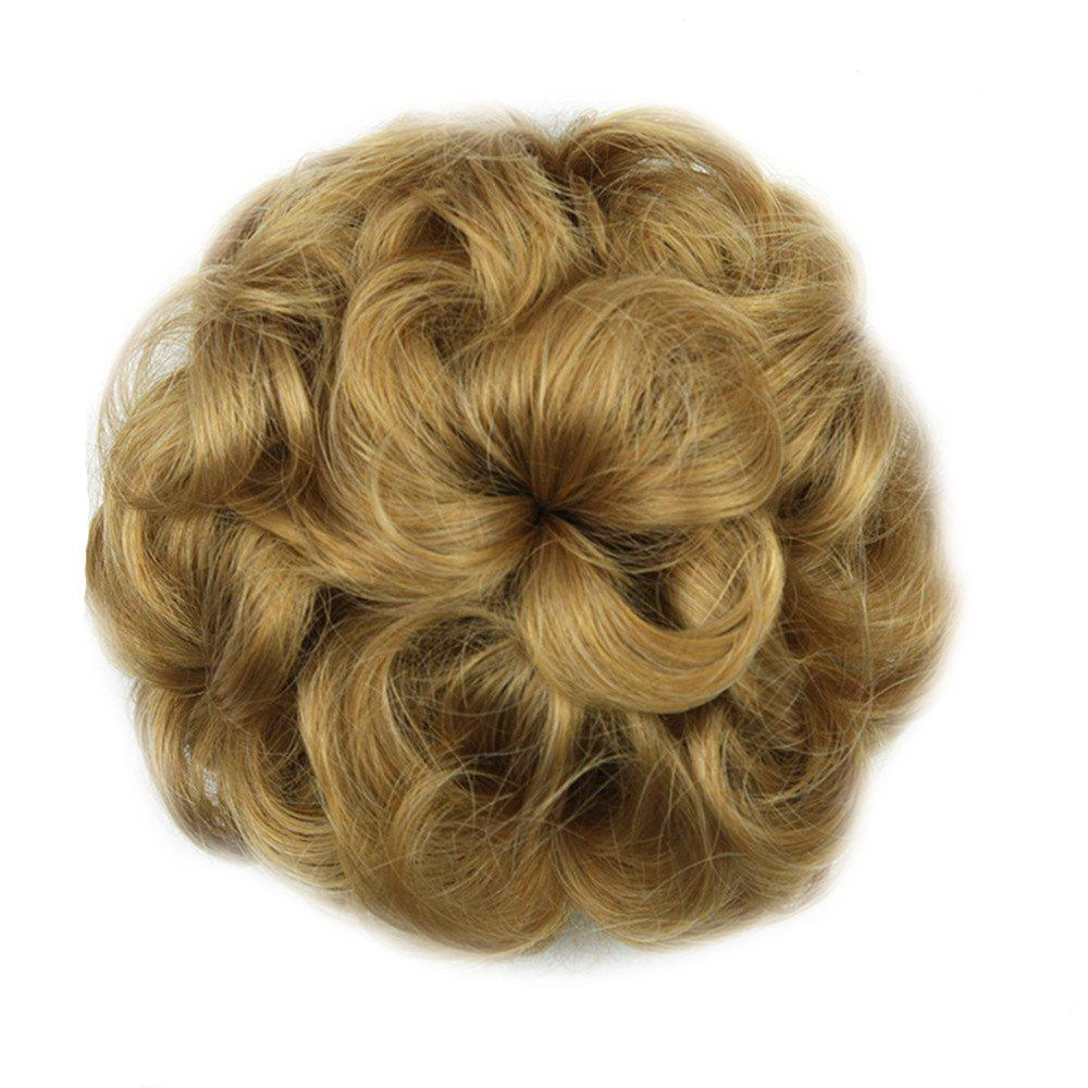 Flower Balls Head Pull Rope Bun Hair Wig - DARK YELLOW