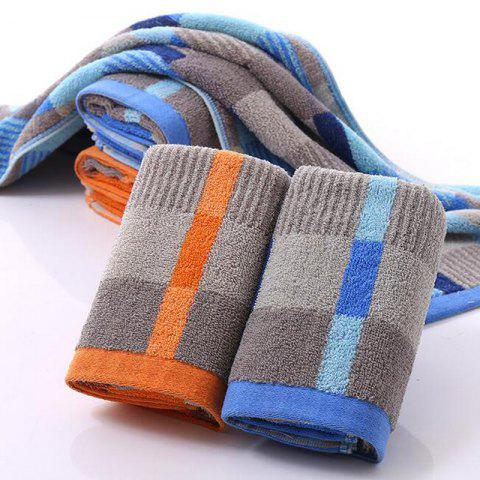 2 Pc Face Towel Cotton Blends Patchwork Pattern Cozy Towel - BLUE/YELLOW 35CM X 75CM