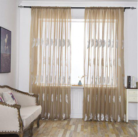 Home Feather Embroidery Thin Screens  Curtains - COFFEE / WHITE 100X250CM