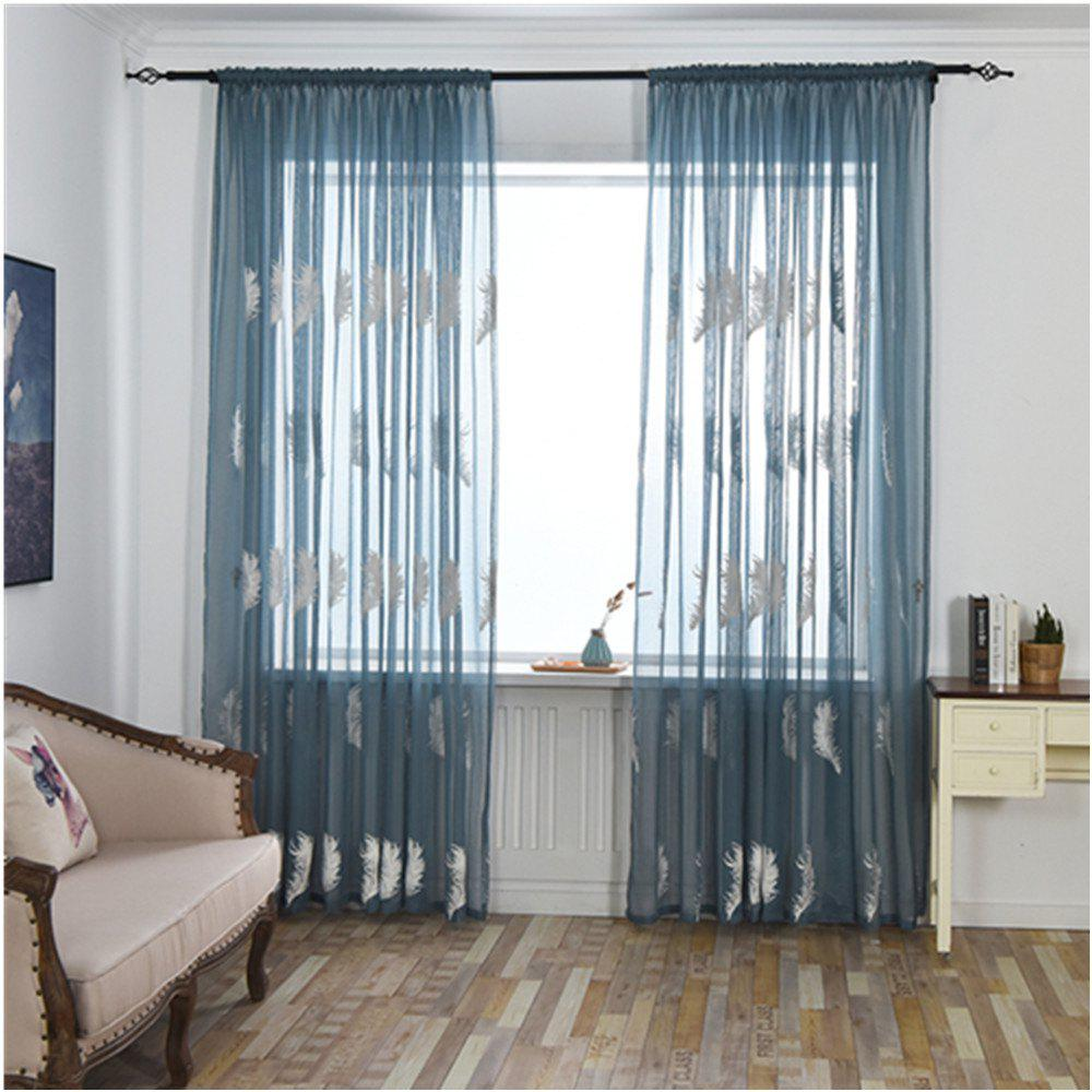 Home Feather Embroidery Thin Screens  Curtains - BLUE 100X250CM