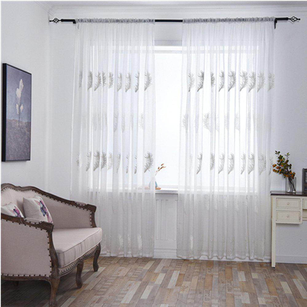 Home Feather Embroidery Thin Screens  Curtains - WHITE 100X250CM