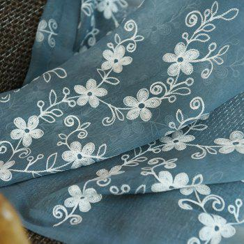 Embroidery Small Floral Screens Curtains - BLUE/WHITE 100X250CM