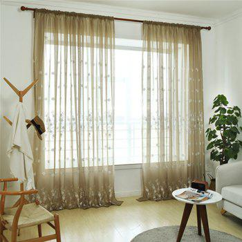 Embroidery Small Floral Screens Curtains - COFFEE / WHITE 100X250CM