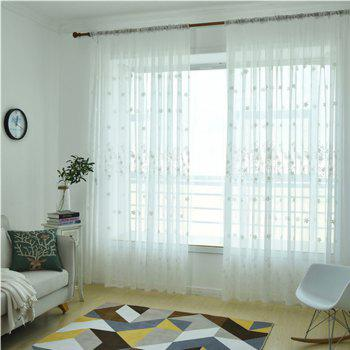 Embroidery Small Floral Screens Curtains - WHITE 100X250CM