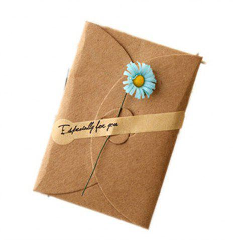 Creative Kraft PaperDried Flowers Greeting Card Manual Small Florist Send Customer Holiday Wishes - BLUE