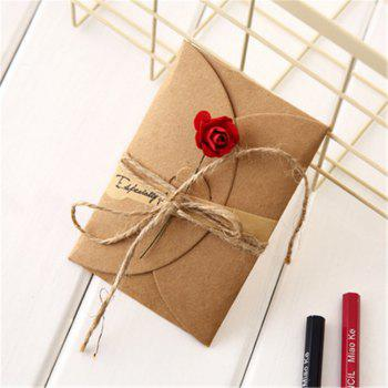 Creative Kraft PaperDried Flowers Greeting Card Manual Small Florist Send Customer Holiday Wishes - RED