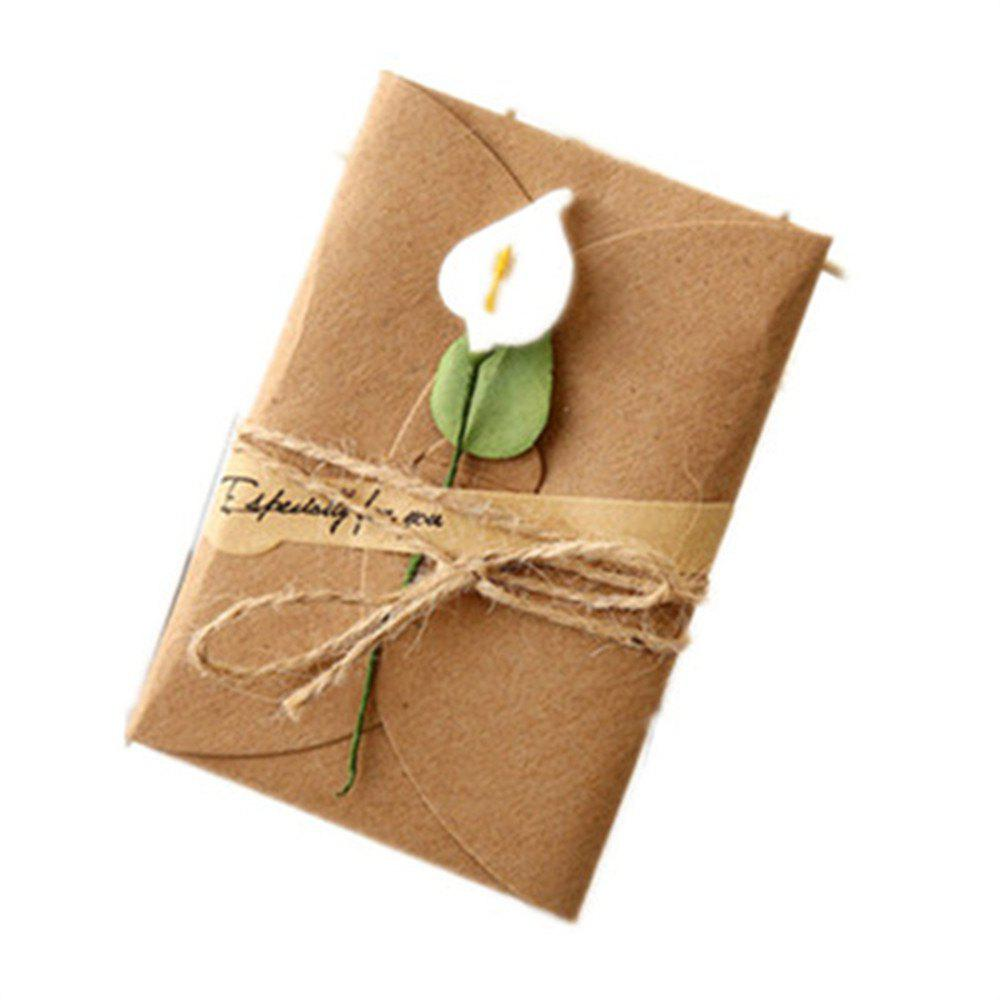 Creative Kraft PaperDried Flowers Greeting Card Manual Small Florist Send Customer Holiday Wishes - WHITE