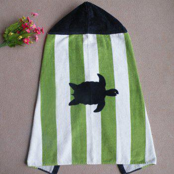 Pure Cotton Printed Cartoon Baby Hooded Cloak - GREEN