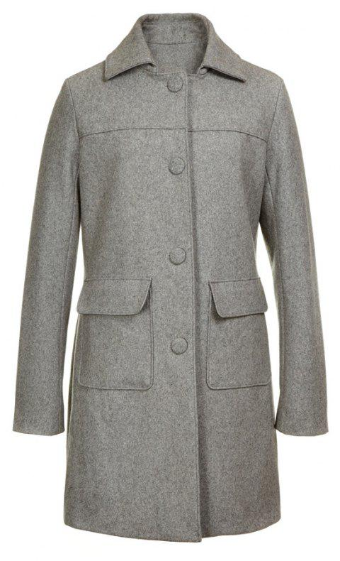 Turn Down Collar Long Women Peacoat - GRAY L