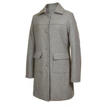 Turn Down Collar Long Women Peacoat - GRAY M