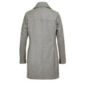 Turn Down Collar Long Femmes Peacoat - gris L