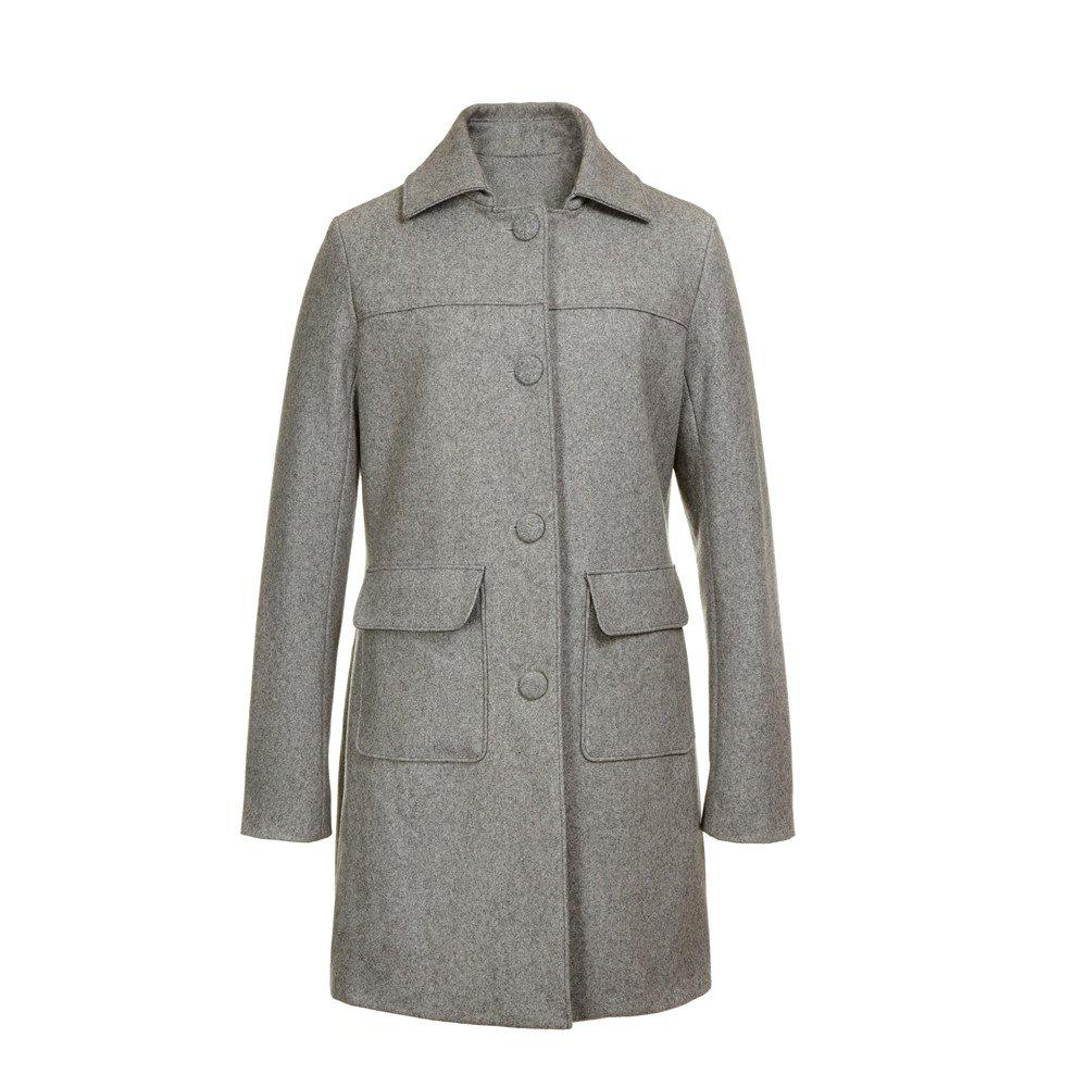 Turn Down Collar Long Femmes Peacoat - gris M