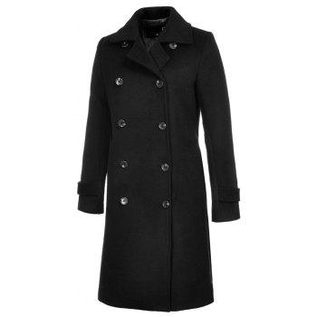Long Sleeve Notched Collar Solid Women Coat - BLACK XL