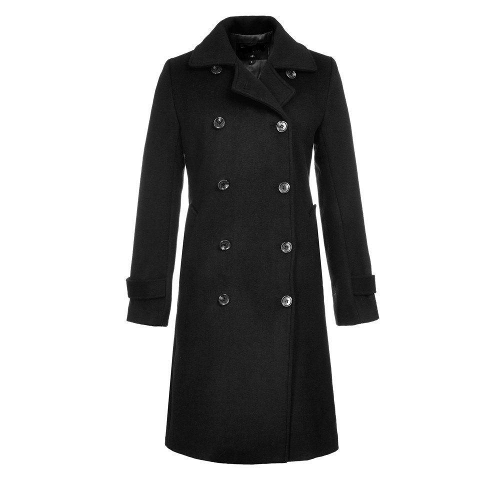 Long Sleeve Notched Collar Solid Women Coat - BLACK L