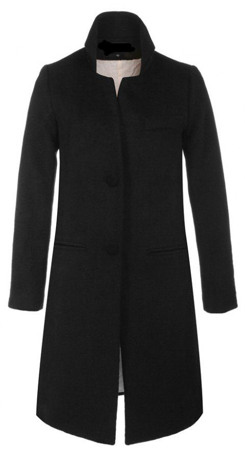 Single Breasted Solid Long Sleeve Thicken Women Coat - BLACK S
