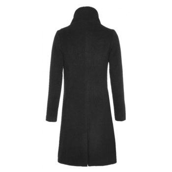 Single Breasted Solid Long Sleeve Thicken Women Coat - BLACK M