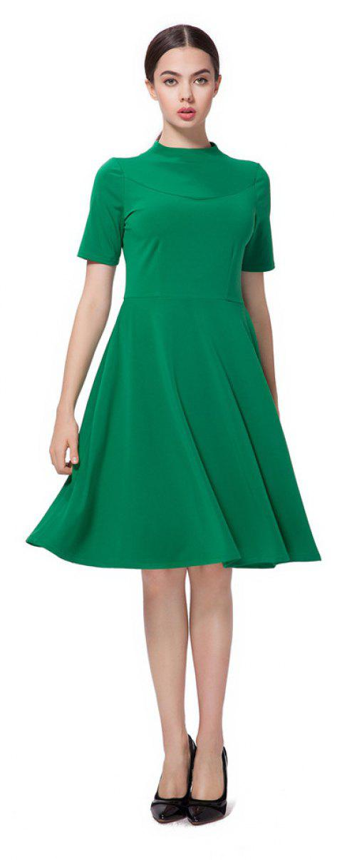 Fresh Green High Neck Back Zipper Midi Dress - GREEN XL