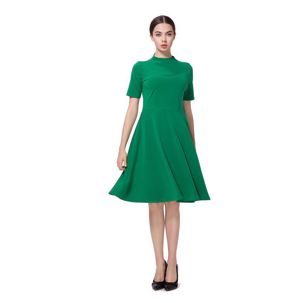Fresh Green High Neck Back Zipper Midi Dress - GREEN L
