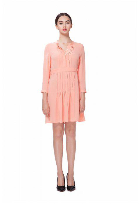 Pleated Cut O-Neck Pink Chiffon Dress - ORANGEPINK XL