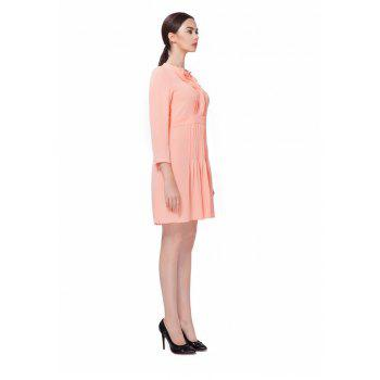 Pleated Cut O-Neck Pink Chiffon Dress - ORANGEPINK M