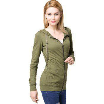Women's Elastic Cuffs Long Sleeve Slim Hoodie - ARMYGREEN 2XL