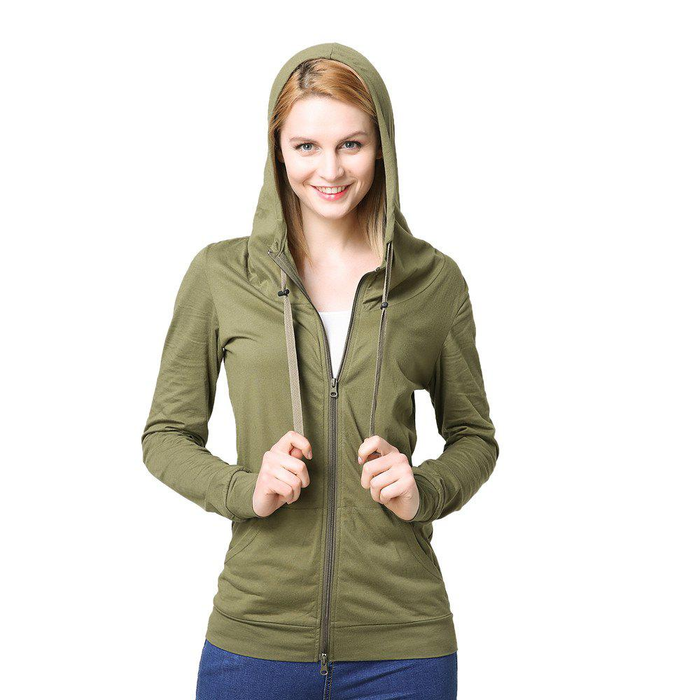 Women's Elastic Cuffs Long Sleeve Slim Hoodie - ARMYGREEN XL