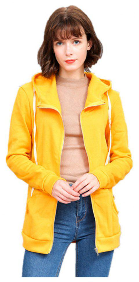 Chandail à capuchon Slim Color All Match pour Femme - Jaune S