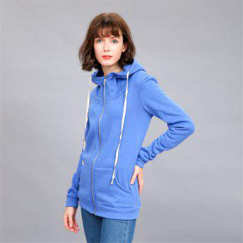 Women's Solid Color All Match Slim Hoodie - BLUE 2XL