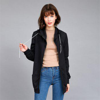 Women's Solid Color All Match Slim Hoodie - BLACK M