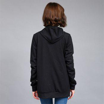 Women's Solid Color All Match Slim Hoodie - BLACK XL